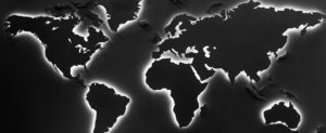 Illuminated earth map on black background. Continents shapes with cool white backlight sd wan